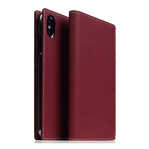 SLG Design puzdro D8 Full Grain Leather pre iPhone XS Max - Burgundy Rose
