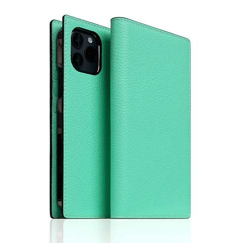 SLG Design puzdro D8 Neon Full Grain Leather Diary pre iPhone 12/12 Pro - Teal