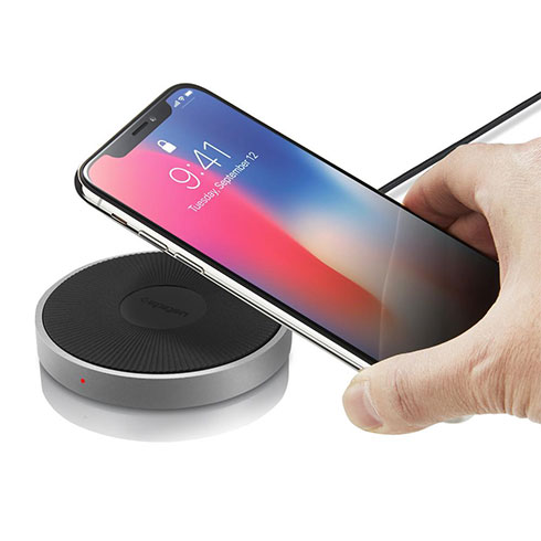 Spigen Essential F306W iPhone Wireless Charger - Silver